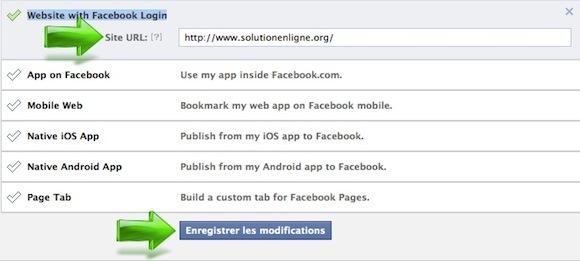 Renseigner l'URL du site web dans une application Facebook