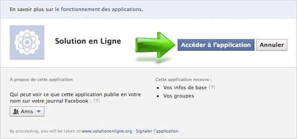 Autorisez l'accès à l'application Facebook