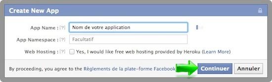 Créer une application Facebook