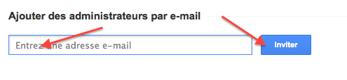 Ajouter des administrateurs par email
