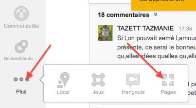 """Allez dans votre compte Google+ et cliquez sur """"Plus"""" puis sur """"Pages"""""""