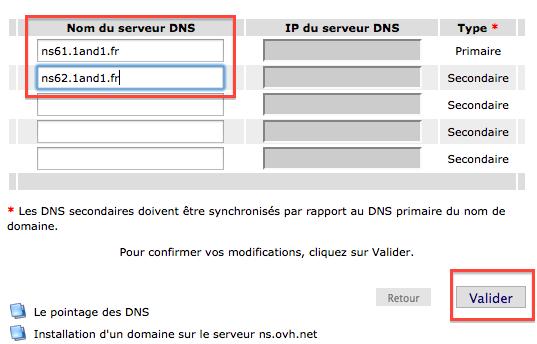 Les DNS de 1&1 à indiquer chez votre registrar OVH
