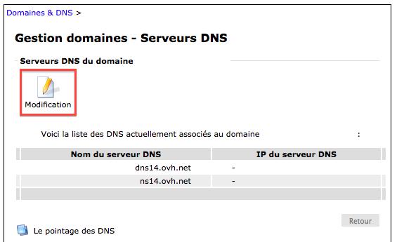 Modification des DNS du côté de chez OVH