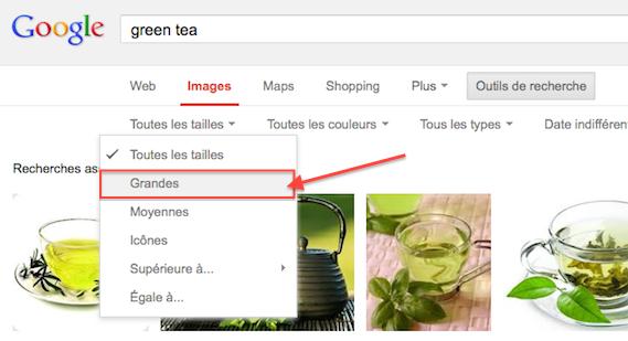 Afficher seulement les images de grandes tailles sur Google Images