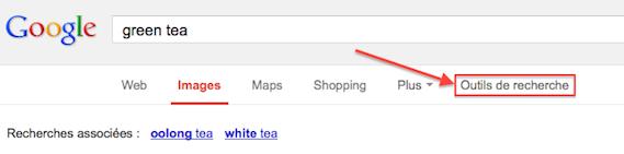 Outils de recherche dans Google Images