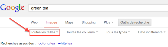 Afficher toutes les tailles dans Google Images