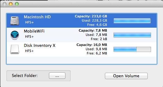 Disk Inventory X : choisissez un disque dur