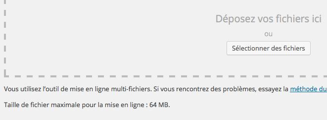 Taille maximale d'envoi des fichiers avec WordPress