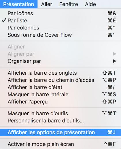 Afficher les options de présentation du Finder