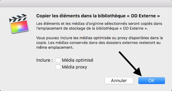 Copier les éléments vers la nouvelle bibliothèque FCPX sur votre disque externe