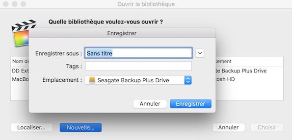 Choisissez votre disque dur et un nom pour votre nouvelle bibliothèque FCPX