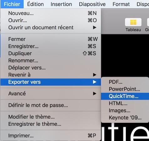 Exporter vers QuickTime depuis Keynote