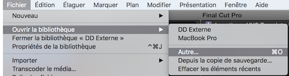 """Dans fichier, choisissez """"Ouvrir la bibliothèque"""" puis """"Autre..."""""""