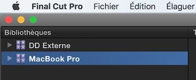 Sélectionnez la bibliothèque de Final Cut Pro X que vous souhaitez nettoyer