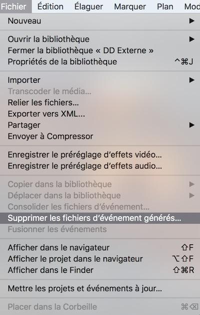 Supprimer les fichiers d'événements générés - Final Cut Pro X