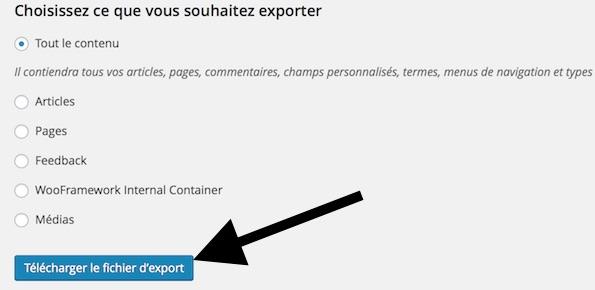 Téléchargez le fichier d'export de données XML de votre site WordPress