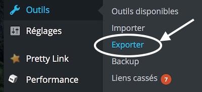 Dans WordPress, choisissez Outils puis Exporter