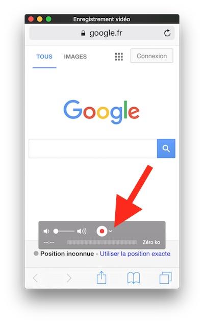 Capture d'écran vidéo de l'iPhone - Bouton enregistrer