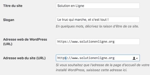 """Modifiez l'adresse de votre site WordPress dans l'onglet """"Réglages généraux"""""""