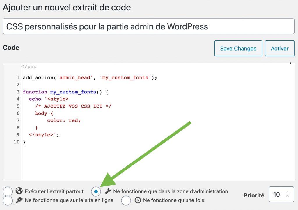 Ajout du code pour personaliser les CSS dans la partie admin de WordPress