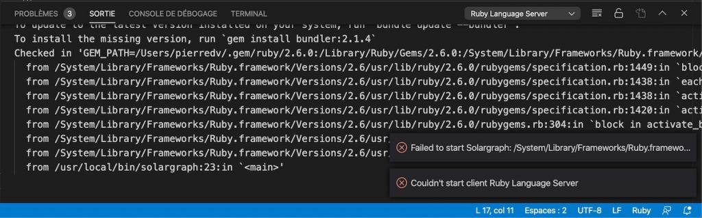 L'erreur qui s'affiche lorsque vous utilisez un fichier Ruby avec Visual Studio Code
