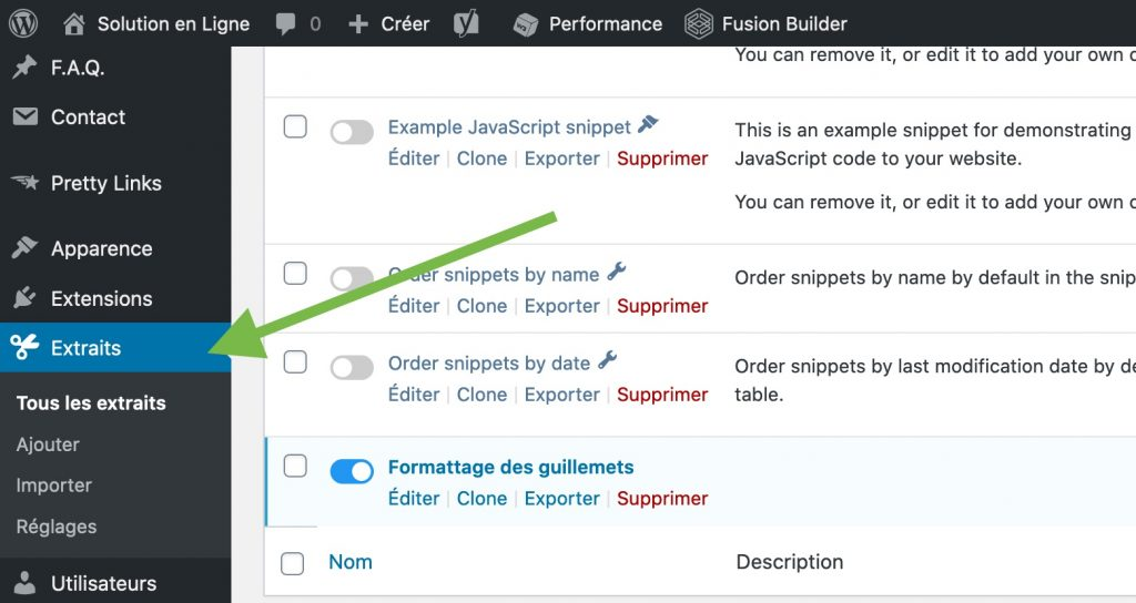 Onglet Extraits (Code Snippets) pour WordPress