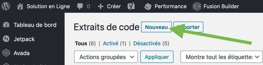 Créer un nouvel extrait de code