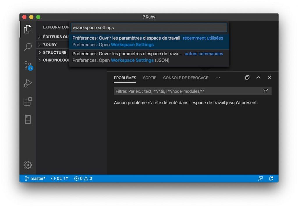 Ouvrez les paramètres de l'espace de travail de Visual Studio Code