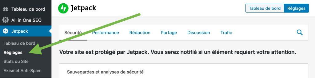 Accéder aux réglages du plugin Jetpack