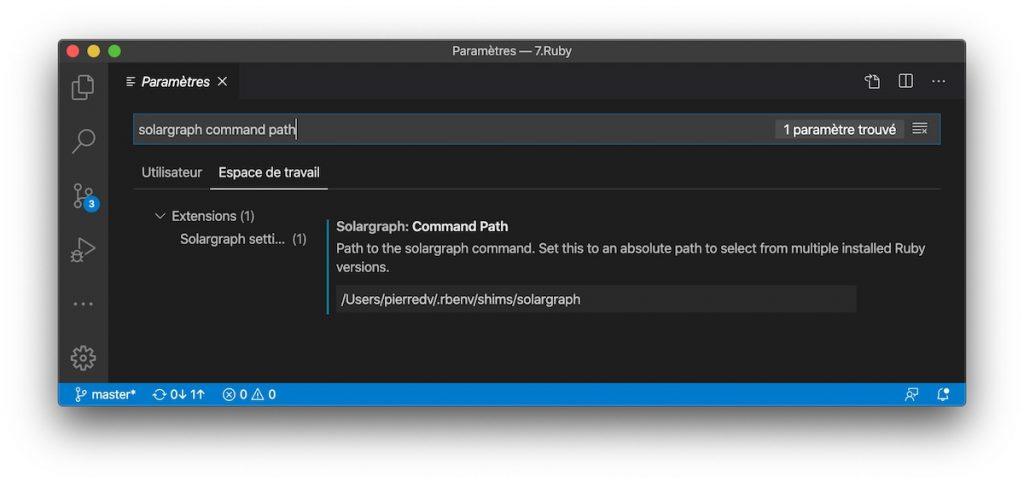 Editez le command path de solargraph