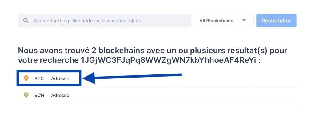 Choisir l'adresse en BTC (Bitcoin)