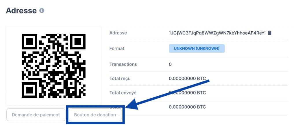 Cliquez sur le bouton de donation de blockchain.com