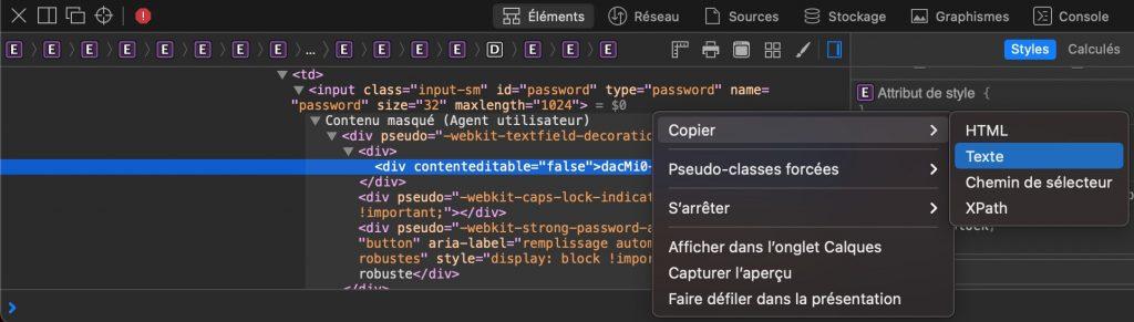 Sélection de copier puis de texte pour copier le mot de passe masqué