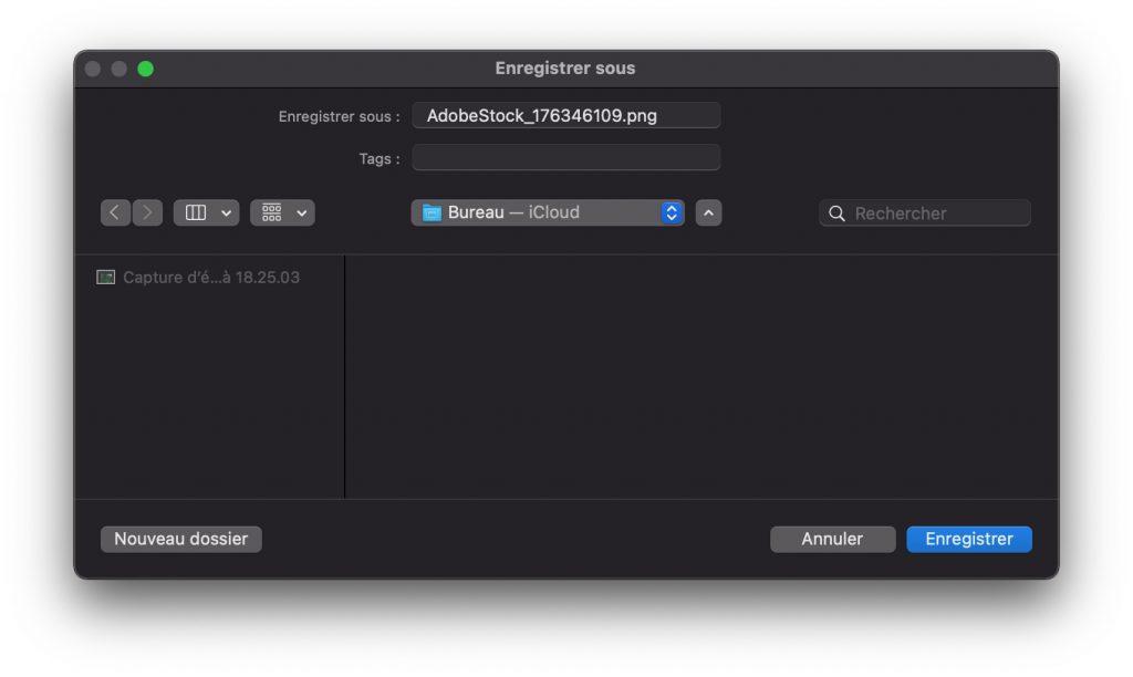 Enregistrement au format PNG