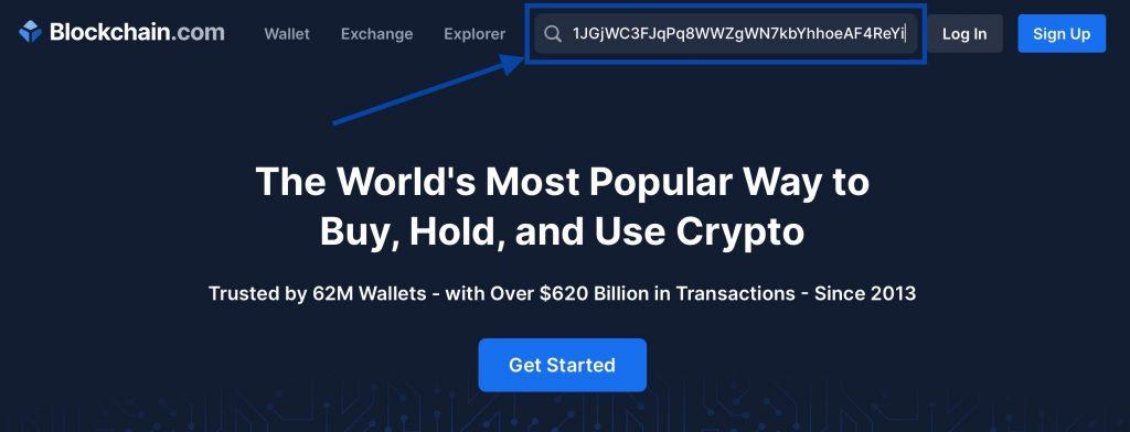 Entrez l'adresse de votre portefeuille Bitcoin dans l'explorateur de blockchain.com