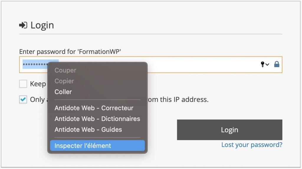 Option inspecter dans le menu contextuel (clic-droit)