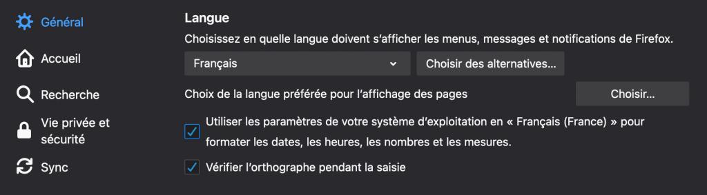 """Cherchez la section """"Langue"""" dans les préférences de Firefox"""